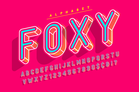 Condensed display font pop art design, alphabet, letters and numb.