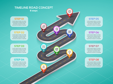 Isometric navigation map infographic 8 steps timeline concept. Winding road vector illustration.