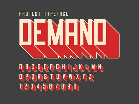 Protest display font design, alphabet, character set, letters and numbers. Illustration