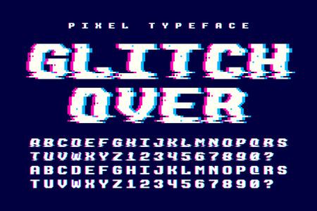 Diseño de fuente de vector de píxeles con efecto de falla. 2 en 1