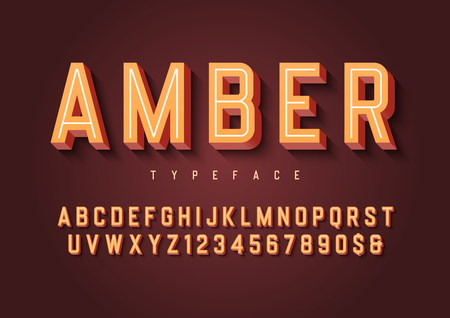 Amber trendy inline vintage display font design, alphabet, typef Illustration