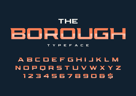 The Borough trendy retro display font design, alphabet, typeface, letters and numbers, typography.