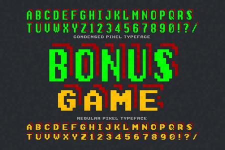 Pixel vector font design, stylized like in 8-bit games
