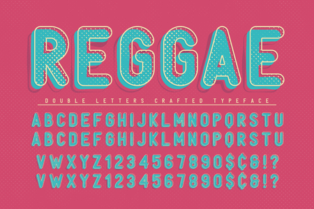 Reggae condensed display font popart design, alphabet, letters