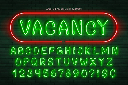 Handmade neon light alphabet, realistic extra glowing font. Exclusive swatch color control. 일러스트