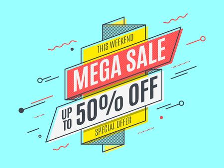 Retro-futuristic promotion banner, scroll, price tag. Vector illustration Illustration