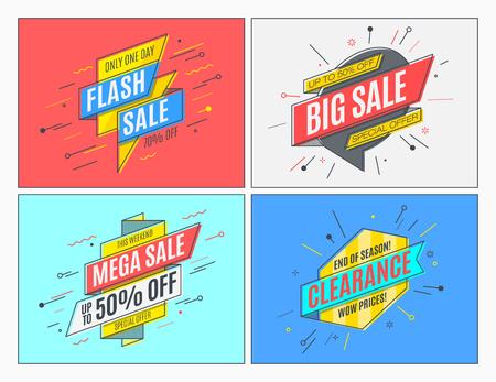Retro-futuristic promotion banners, scrolls, price tags. Vector illustration set