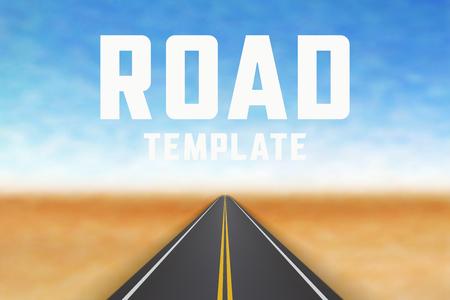 Road in perspective. Highway landscape template Illustration
