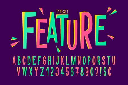 Trendy comical condensed font design, colorful alphabet Illustration