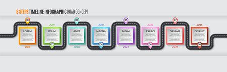 Navigation map infographic 8 steps timeline concept Vectores