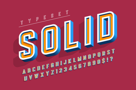 Condensed bold 3d display font, alphabet, letters and numbers.