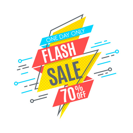 Flash sale promotion banner, flat design, price tag. Vector illustration. Color swatches control