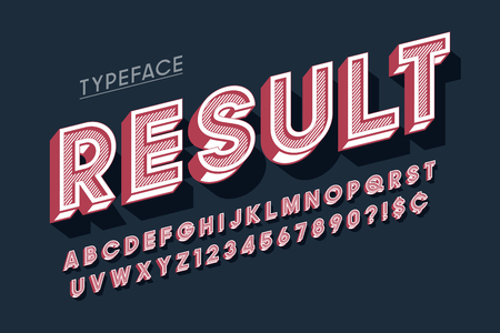 Vitage 3d display font design, alphabet, letters 일러스트