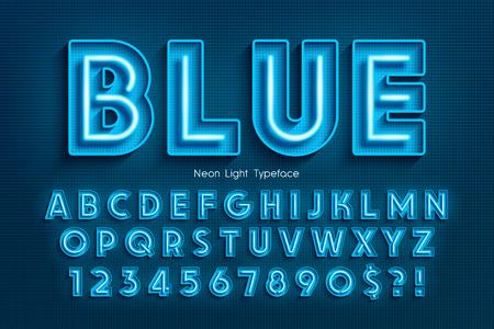 Neonowy alfabet 3d, dodatkowa świecąca czcionka. Ilustracje wektorowe
