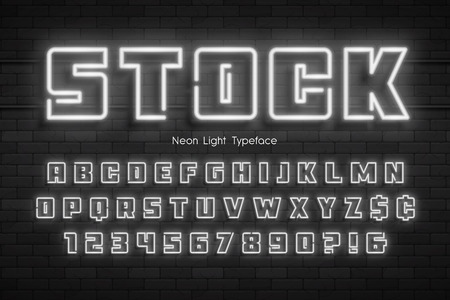 Neon light alphabet, extra glowing font. Swatch color control. Illustration