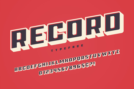 Record display font design, alphabet, typeface uppercase characters