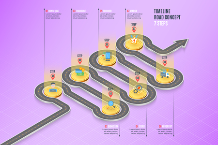 Isometric navigation map infographic 7 steps timeline concept. Vector illustration