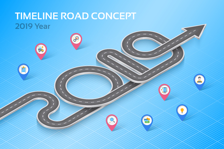 Isometric navigation map infographic 8 steps timeline concept 2019. Vector illustration Ilustração
