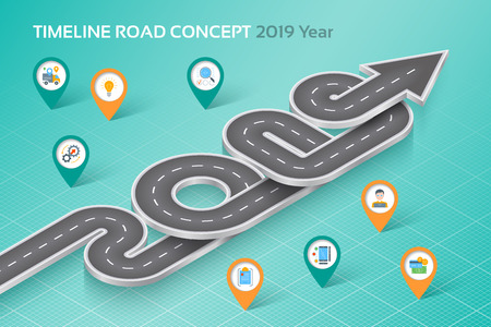 Isometric navigation map infographic 8 steps timeline concept 2019. Vector illustration Ilustrace