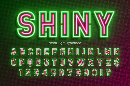 Neon light alphabet, extra glowing font, type