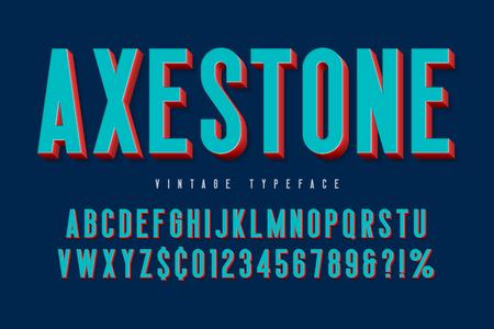 Verkort 3D-display lettertype ontwerp, alfabet, letters