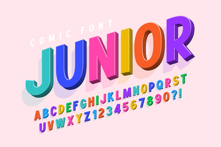 Trendy 3d comical font design, colorful alphabet, typeface. Color swatches control