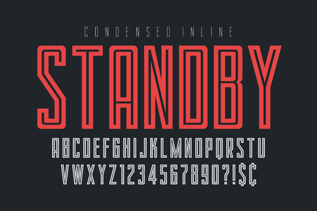 Condensed simple display font design, alphabet, typeface
