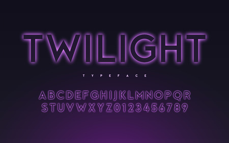 Vector trendy neon light or eclipse style glowing font design, a