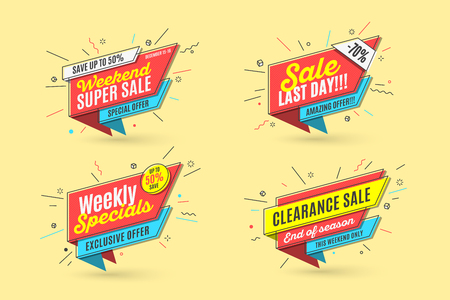 Retro-futuristic promotion banner, price tag and sale Ilustrace