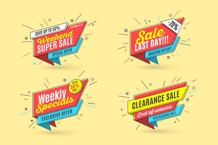 Retro-futuristic promotion banner, price tag and sale Illustration