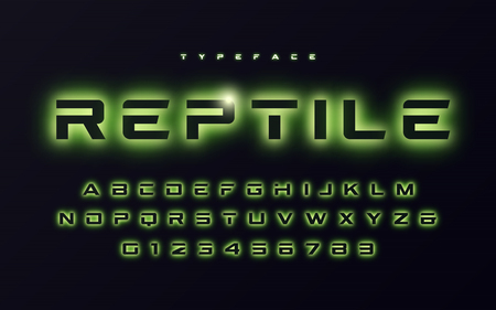 Vector trendy neon light or eclipse style futuristic glowing font design, alphabet, typeface, letters and numbers. Illustration