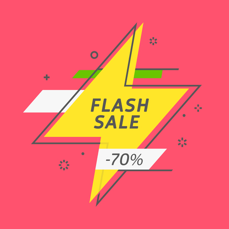 Flash ribbon banner, scroll, price tag, sticker, badge poster Vector illustration