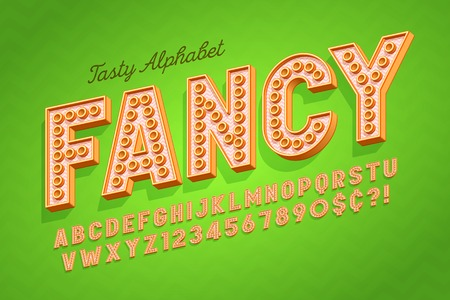Comical tasty 3d display font design, alphabet, letters