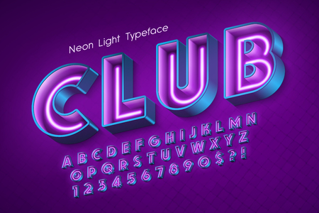 Neon light 3d alphabet, extra glowing font. 写真素材 - 114953333