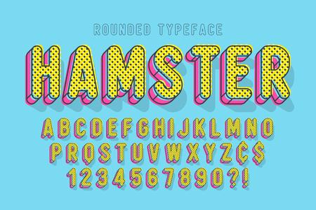 Comical linear font design, colorful alphabet, typeface. Color Swatches control