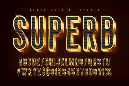Golden 3d shining font, gold letters and numbers
