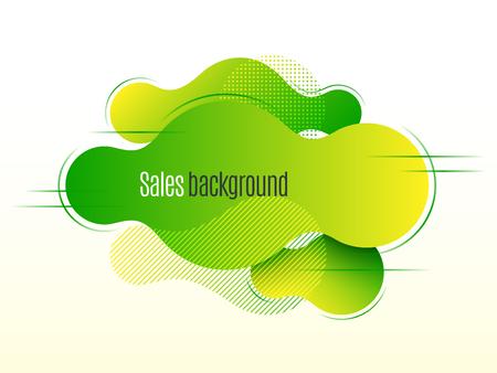 Liquid shape promotion banner, sticker, modern background. Vector illustration