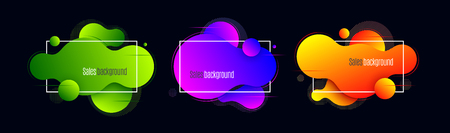 Liquid shape promotion banner, sticker, modern background. Vector illustration set