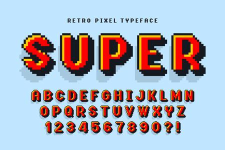 Design del carattere vettoriale pixel, stilizzato come nei giochi a 8 bit.