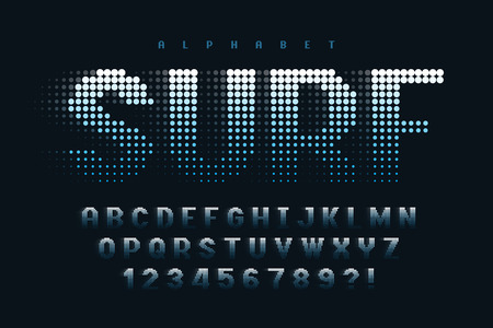 Dotted halftoned display font design, alphabet and numbers Illustration