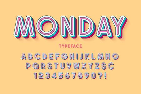 Design del carattere lineare comico, alfabeto colorato, carattere tipografico. Tratti non espansi. Controllo campioni di colore