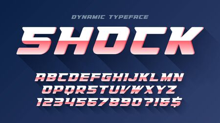 Racing display font design, alphabet, typeface, letters