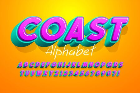 Colorful 3d display font design, alphabet, letters and numbers.