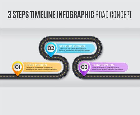 Navigation map infographic 3 steps timeline road concept.