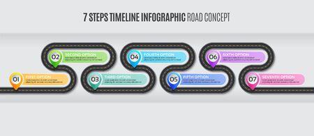 Carte de navigation infographie concept de chronologie en 7 étapes. Route sinueuse illustration vectorielle. Contrôle des échantillons de couleur
