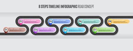 Navigation map infographic 8 steps timeline road concept.