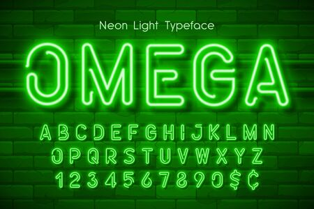Neon light 3d alphabet, extra glowing font  イラスト・ベクター素材