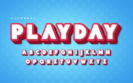 Cool and funny english alphabet cartoon 3d letters. Vector illustration