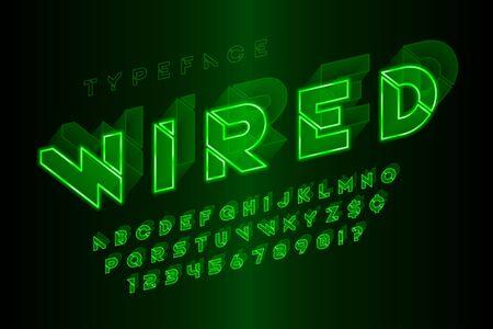 Glowing 3d futuristic sci-fi alphabet, creative characters set.