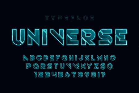 Glowing futuristic sci-fi alphabet, creative characters set.